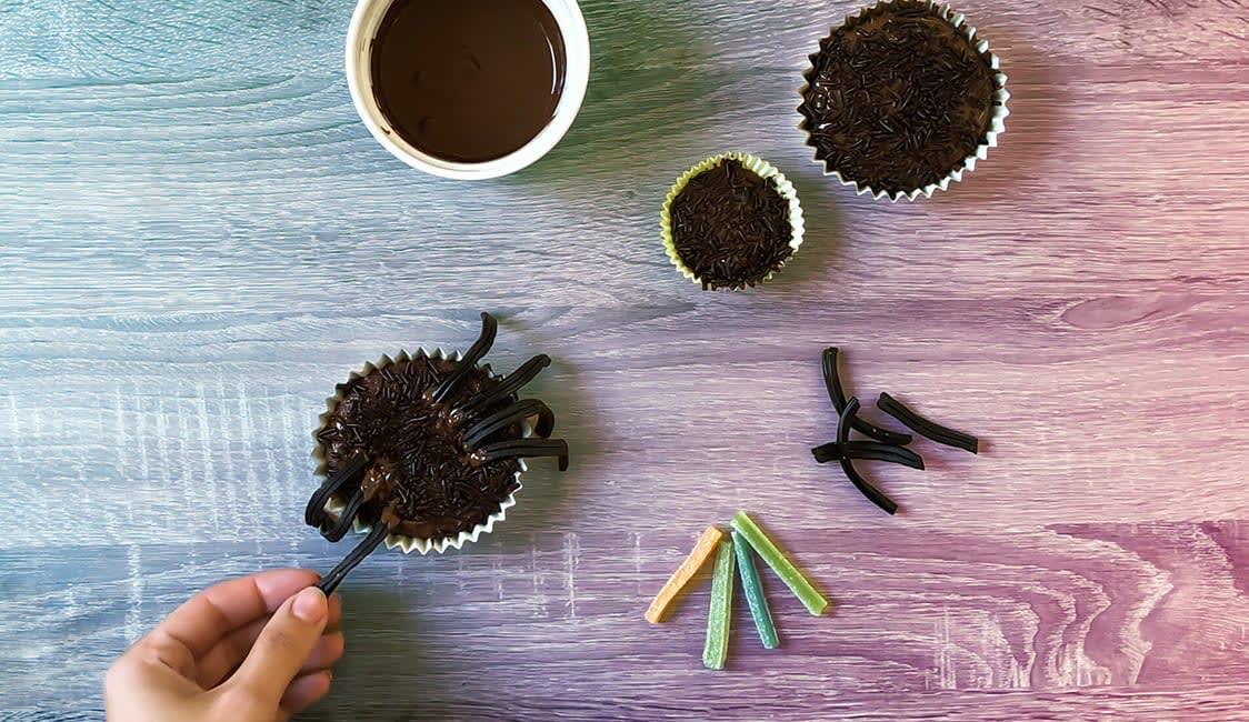 Spinnen Muffins Schritt 9