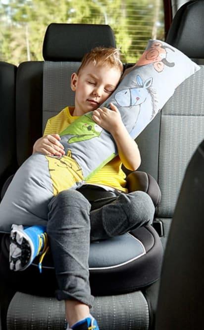 Spiele im Auto: Junge schläft im Kindersitz mit Kuschelrolle