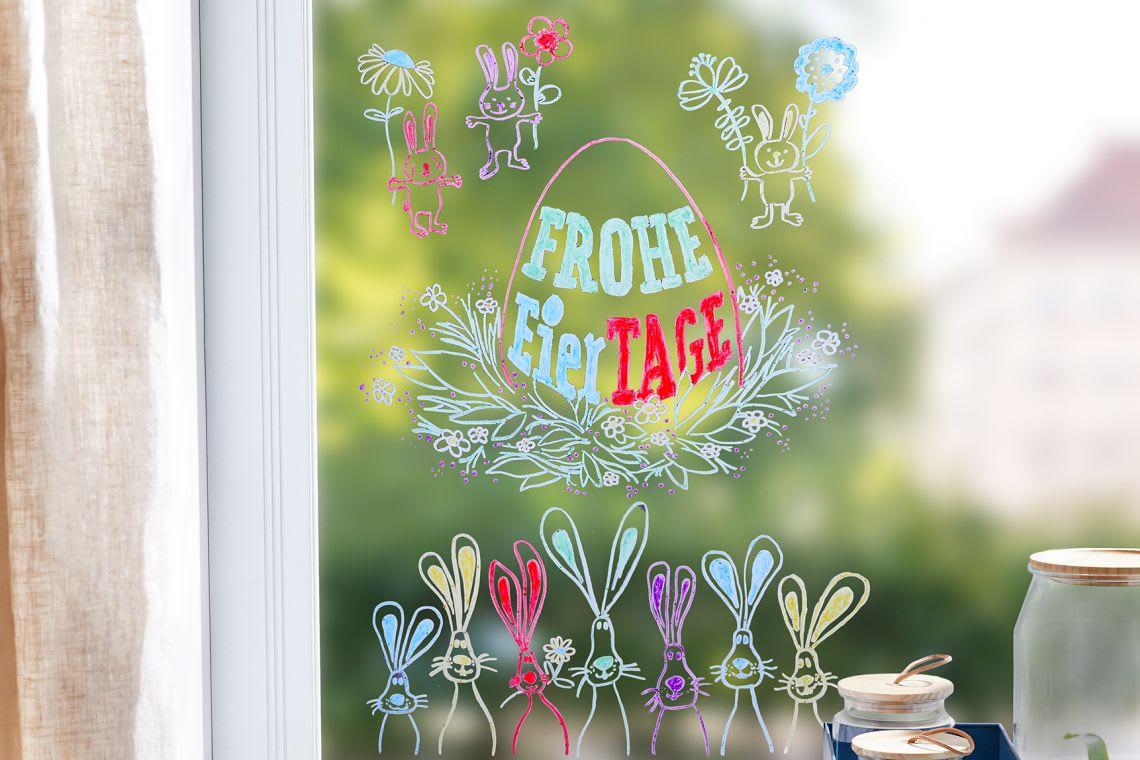 Basteln mit Kindern für Ostern: Fensterbild