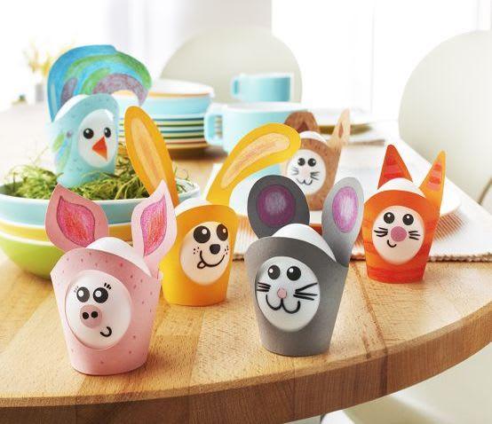 Basteln mit Kindern für Ostern: tierische Papp-Eierbecher