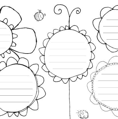 Muttertagsgeschenke basteln: Malvorlage mit Blumen