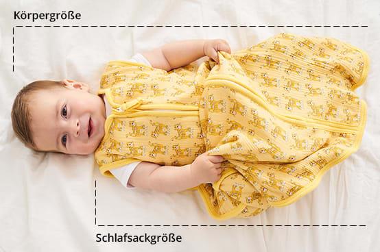Maßtabelle für Baby Schlafsäcke