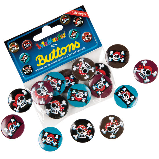 Lutz Mauder Verlag Mini-Buttons, verschiedene Motive, 8 Stück
