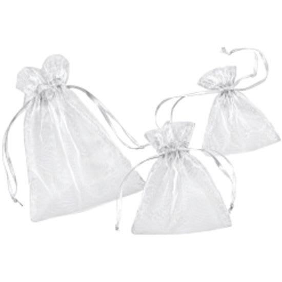 Chiffon-Säckchen, weiß, 6 Stück