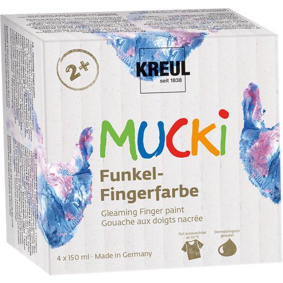KREUL MUCKI Funkel-Fingerfarbe, 4 x 150 ml