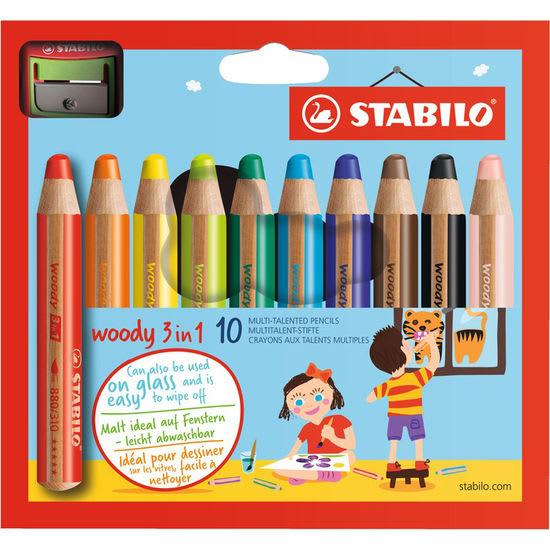 STABILO® Woody 3 in 1 Multitalentstifte, 10 Farben inkl. Spitzer
