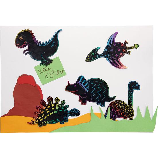 Kratzbilder Magnet-Dinosaurier, Bastelset für 30 Stück