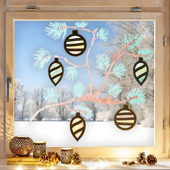 Sachenmacher Fensterbilder Weihnachtskugeln, Bastelset für 12 Stück