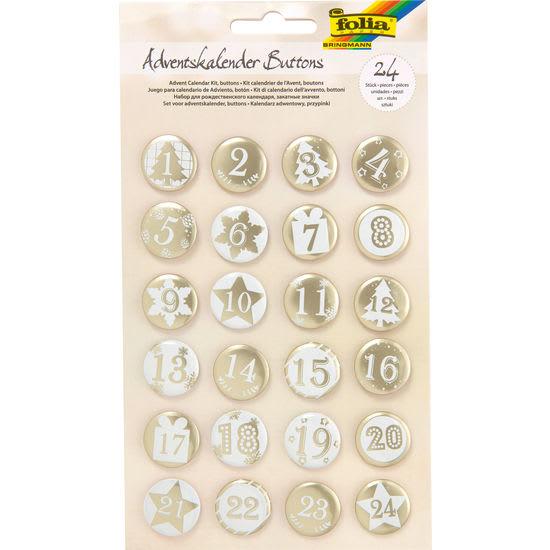 folia® Adventskalender-Buttons, 24 Stück