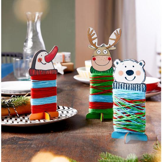 Sachenmacher Holz-Wickeltiere Weihnachtsfreunde JAKO-O, Bastelset für 3 Stück