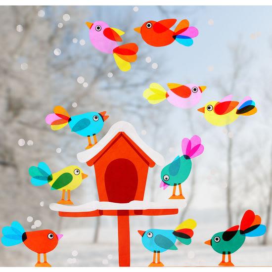 Sachenmacher Fensterbilder Futterhäuschen JAKO-O, Bastelset für 1 Futterhaus und 11 Vögel