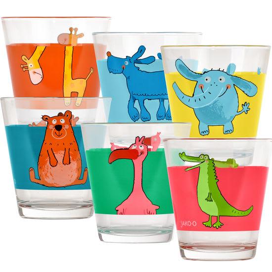 Kinder Trinkgläser-Set Tiere JAKO-O, 6-teilig