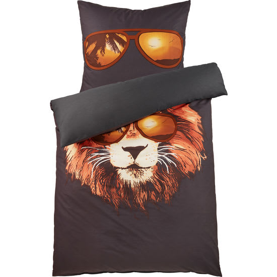 Renforcé Bettwäsche Löwe mit Reißverschluss FIT-Z, 135 x 200 cm