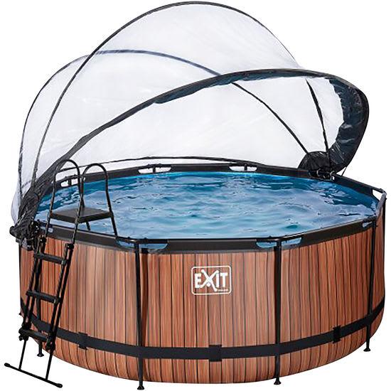 EXIT Pool Holzoptik rund Ø 360 cm, mit Dach und Filterpumpe