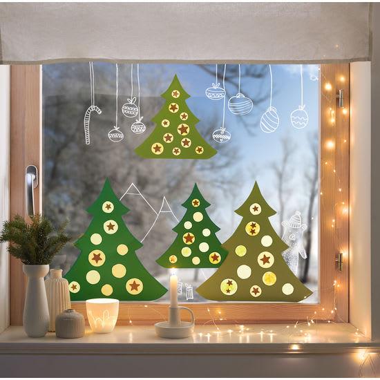 Sachenmacher Fensterbild Schmück-dich-Baum, Bastelset für 6 Stück
