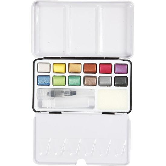 Creotime Aquarellfarben-Set, Metallic-Aquarellfarben, Farbkasten