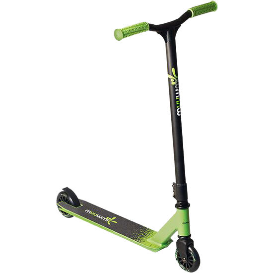 Stuntscooter schwarz-grün, 100 mm